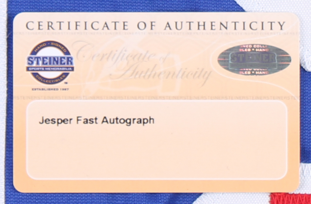 Jesper Fast Signed Rangers Jersey (Steiner COA   First Class Autographs COA)  at PristineAuction 3f06e7a29