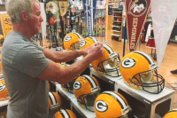"""Brett Favre Signed LE Packers Full-Size Authentic On-Field Helmet Inscribed """"Last to Wear 4"""" (Radtke COA & Favre Hologram) at PristineAuction.com"""
