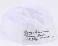 """George Mendonsa Signed Sailor Hat Inscribed """"Kissing Sailor"""" & """"V.J. Day 8/14/45"""" (PSA COA)"""
