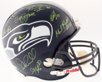 2013 Super Bowl Champion Seahawks Full-Size Helmet Team-Signed by (14) with Russell Wilson, Doug Baldwin, Earl Thomas, Richard Sherman, Kam Chancellor (Beckett LOA)