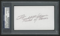 "Hershel Williams Signed 3x5 Index Card Inscribed ""Medal of Honor"" (PSA Encapsulated)"