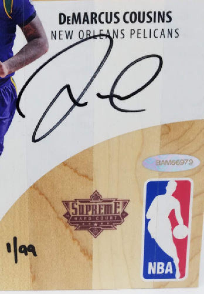 007b66732 DeMarcus Cousins Signed LE 2016-17 Upper Deck Supreme Hardcourt NBA  Autographs Relic Floor (