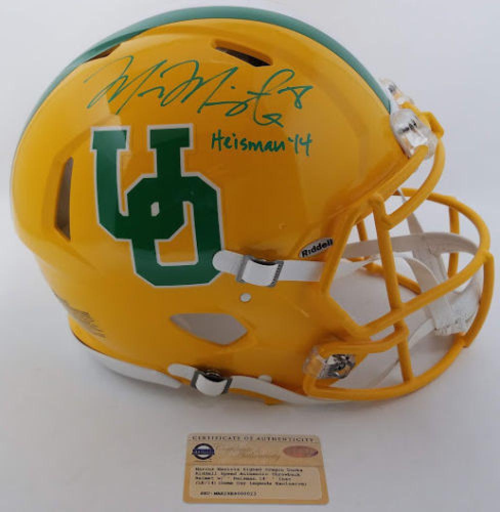 Marcus Mariota Signed LE Oregon Ducks Throwback Full-Size Authentic  On-Field Speed Helmet (Steiner COA) fe04613c8