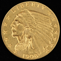1908 $2.5 Indian Head Quarter Eagle Gold Coin