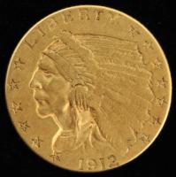 1912 $2.5 Indian Head Quarter Eagle Gold Coin