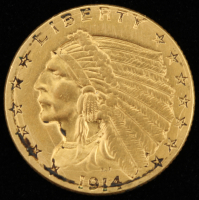 1914 $2.5 Indian Head Quarter Eagle Gold Coin at PristineAuction.com