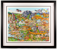 "Charles Fazzino Signed ""O Beautiful For Spacious Skies of America"" 34.5x40.5 Custom Framed 3D Artwork Display (PA LOA)"
