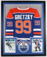 Wayne Gretzky Signed Oilers 34x42 Custom Framed Jersey Display (Beckett Hologram)