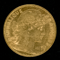 1901 France 10 Francs Rooster Gold Coin