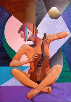 "Jorge Vargas Signed ""The Violinist"" 20x28 Original Mixed Media Painting on Canvas (PA LOA)"