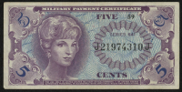 5¢ Five Cents Series 641 Military Payment Certificate Note (MPC)