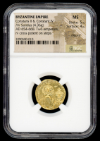 654-668 AD Constans II & Constantine IV. Byzantine Empire, AV (Gold) Solidus (4.36g) Two emperors. rv cross potent on steps (NGC MS) Strike: 5/5, Surface: 4/5