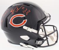 """Devin Hester & Brian Urlacher Signed Bears Full-Size Speed Helmet Inscribed """"KR/PR G.O.A.T."""" & """"HOF 2018"""" (JSA COA)"""