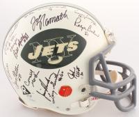 1969 New York Jets LE Full-Size Authentic On-Field Helmet Team Signed by (25) with Joe Namath, Don Maynard, Emerson Boozer, Ralph Bayer, Matt Snell, Bill Mathis (Steiner COA)