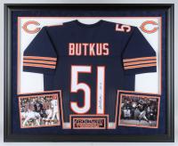 "Dick Butkus Signed Bears 36x44 Custom Framed Jersey Inscribed ""HOF 79"" (JSA COA)"