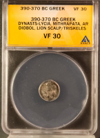 390-370 BC Greek, Dynasts-Lycia, Mithrapata AR (Silver) Diobol, Lion Scalp/Triskeles (ANACS VF 30) at PristineAuction.com