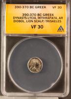 390-370 BC Greek, Dynasts-Lycia, Mithrapata AR (Silver) Diobol, Lion Scalp/Triskeles (ANACS VF 30)