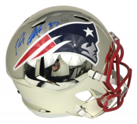 Rob Gronkowski Signed Riddell New England Patriots Chrome Full-Size Speed Helmet (JSA COA)