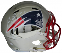 Josh Gordon Signed Patriots Full-Size Chrome Speed Helmet (JSA COA)