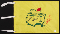 Arnold Palmer, Jack Nicklaus & Fuzzy Zoeller Signed 1999 Masters Golf Pin Flag (JSA LOA)