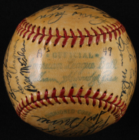 1949 Athletics OAL Baseball Team-Signed by (27) With Lou Brissie, Jimmy Dykes, Ferris Fain, Buddy Rosar, Tod Davis, Carl Scheib, Dick Fowler with Display Case (JSA LOA) at PristineAuction.com
