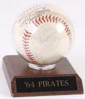 1964 Pirates ONL Baseball Team-Signed by (21) With Bill Mazeroski, Roberto Clemente, Willie Stargell, Roy Face, Bob Friend, Donn Clendenon, Vern Law, Steve Blass (JSA LOA)