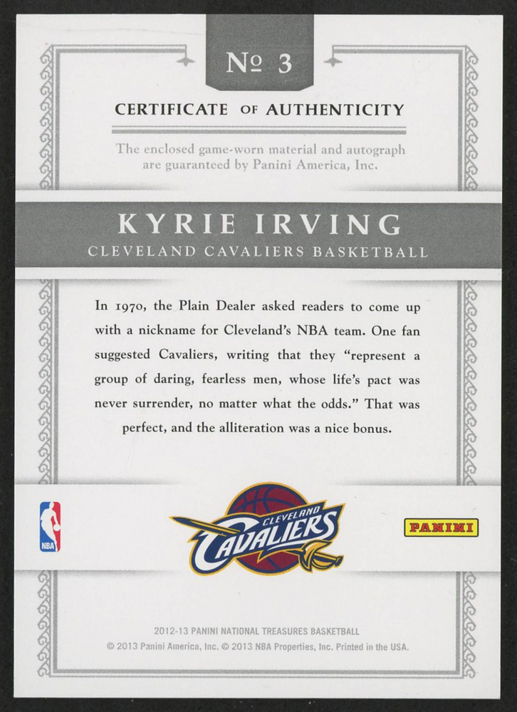 651fd16fb9e 2012-13 Panini National Treasures Timeline Materials Custom Team Nicknames  Signatures  3 Kyrie Irving