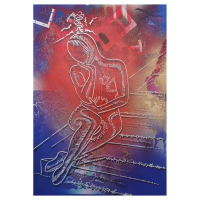 "Mark Kostabi Signed ""Cosmic Introspection"" 42x29 Mixed Media Original Painting at PristineAuction.com"