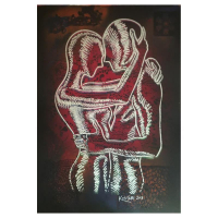 "Mark Kostabi Signed ""Scarlet Rapture"" 42x29 Mixed Media Original Painting at PristineAuction.com"