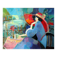 """Isaac Maimon Signed """"Angelica In a Red Hat"""" 30x24 Original Acrylic Painting"""