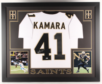 Alvin Kamara Signed Saints 35x43 Custom Framed Jersey (Beckett COA)