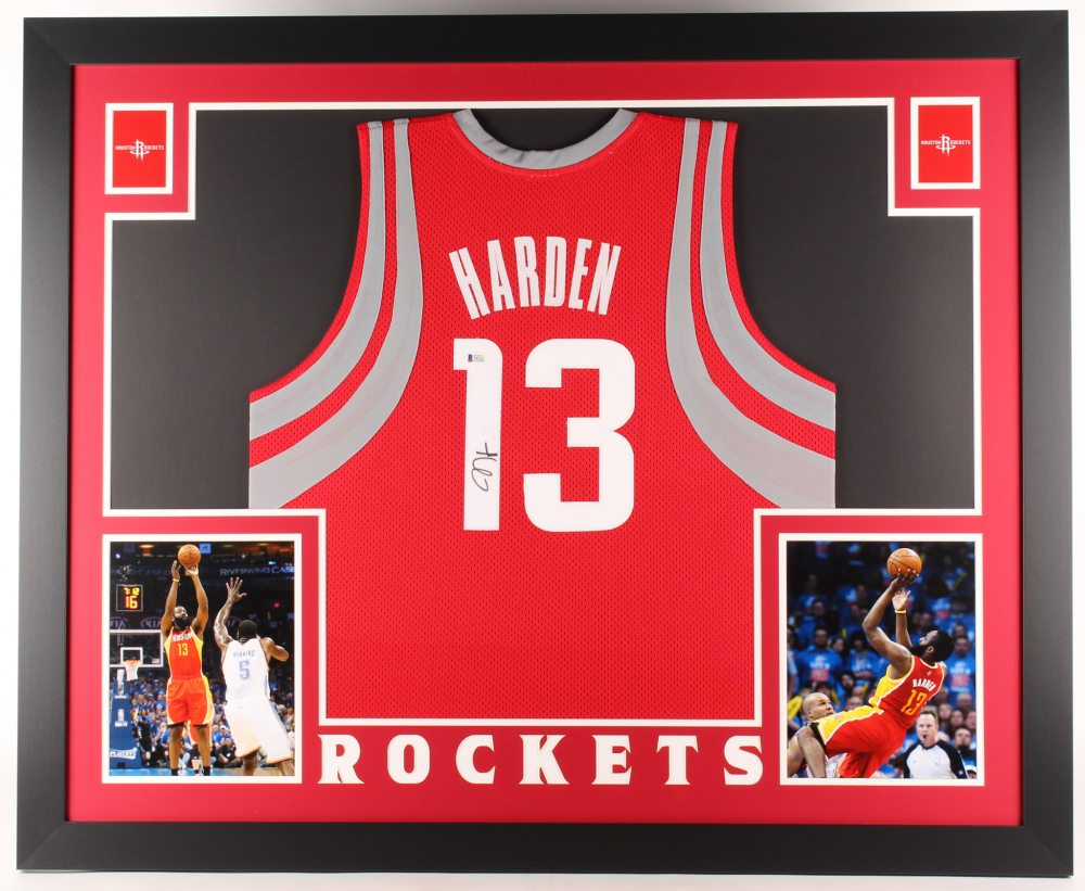 98250e348 James Harden Signed Rockets 35x43 Custom Framed Jersey (Beckett COA) at  PristineAuction.com