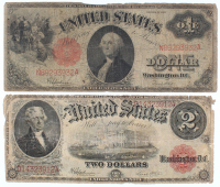 Lot of (2) 1917 Legal Tender Notes with $2 & $1