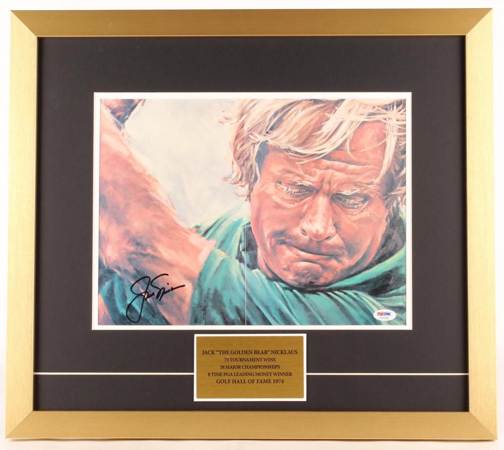 252e5eaa102 Jack Nicklaus Signed 19x22 Custom Framed Print Display (PSA LOA)