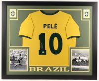 Pelé Signed Brazil 35x43 Custom Framed Jersey (PSA COA)