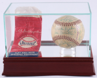 Major League Early Hall of Famers Spalding Baseball Signed by (28) with Mickey Cochrane, Bill Skowron, Red Schoendienst, Phil Rizzuto, Hank Bauer (PSA LOA)