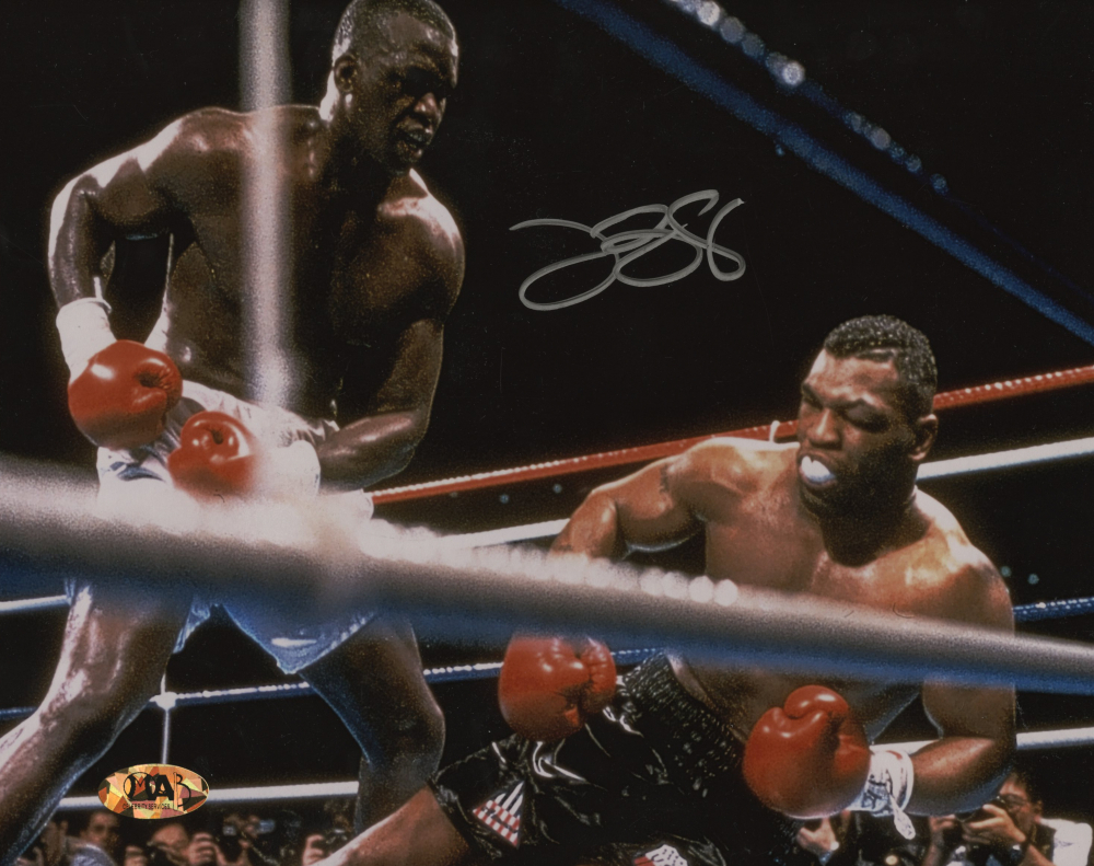 "James ""Buster"" Douglas Signed 8x10 Photo with Mike Tyson (MAB Hologram) at PristineAuction.com"