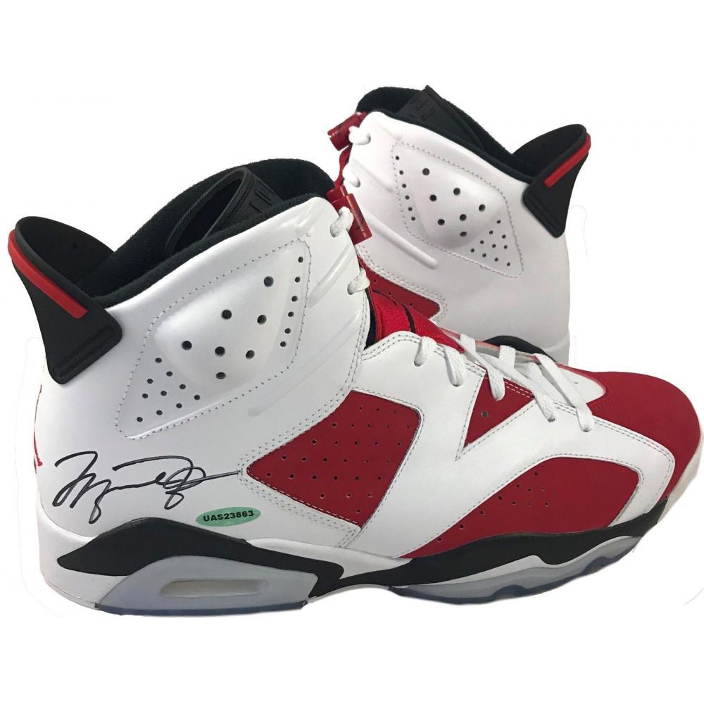 Michael Jordan Signed Air Jordan 6 Retro Basketball Shoes (UDA COA ...