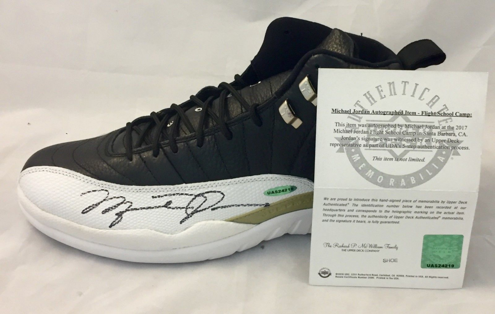 a250fc65d22 Michael Jordan Signed Air Jordan 12 Retro Basketball Shoes (UDA COA) at  PristineAuction.