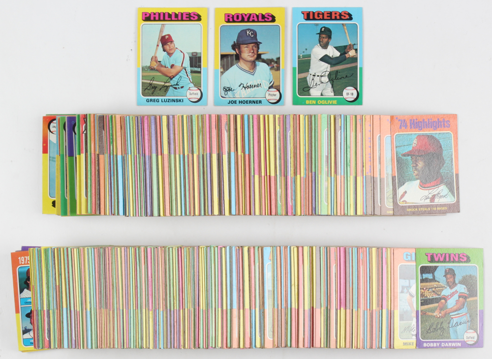 Complete Set of (660) 1975 Topps Baseball Cards with #223 Robin Yount RC, #228 George Brett RC, #500 Nolan Ryan, #660 Hank Aaron at PristineAuction.com