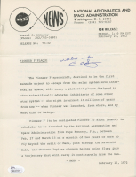 """Carl Sagan Signed 1972 NASA Newsletter Inscribed """"With Best Wishes"""" (JSA COA)"""
