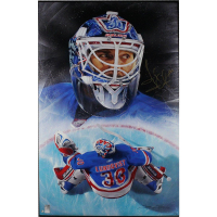 Henrik Lundqvist Signed Rangers 21x28 Giclee on Stretched Canvas (Steiner COA)