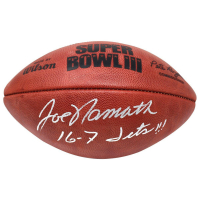 "Joe Namath Signed Super Bowl III Logo Football Inscribed ""16-7 Jets!!!"" (Steiner COA)"