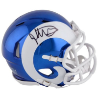 Todd Gurley Signed Rams Chrome Mini Speed Helmet (Fanatics Hologram) at PristineAuction.com