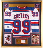 Wayne Gretzky Signed Rangers 34x38 Custom Framed Cut Display with Championship Ring (JSA COA)