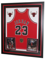 "Michael Jordan Signed Bulls 36x44 Custom Framed Limited Edition Jersey Display With ""Class of 2009"" Hall of Fame Patch (UDA COA)"