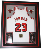 "Michael Jordan Signed Bulls 36x44 Custom Framed Limited Edition Jersey Display With ""Class of 2009"" Hall of Fame Patch Inscribed ""2009 HOF"" (UDA COA)"