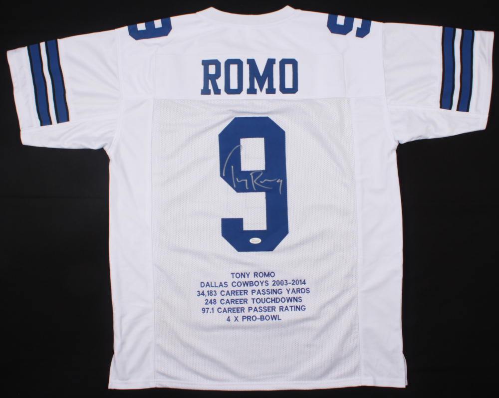 ebc83c887 Tony Romo Signed Cowboys Career Highlight Stats Jersey (JSA COA) at  PristineAuction.com