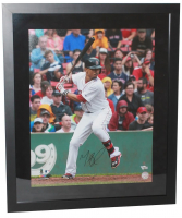 """Mookie Betts Signed Red Sox """"Home Run Swing"""" 20x24 Custom Framed Photo (Fanatics Hologram) at PristineAuction.com"""
