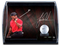 Tiger Woods Signed 8x10 Limited Edition Curve Photo Display with Range Driven Nike Golf Ball (UDA COA)